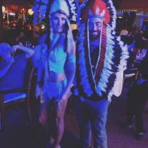 Revelers Dressed Up As Indians For Halloween