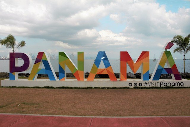 The Visit Panama Sign Is A Prominent Feature In Panama City